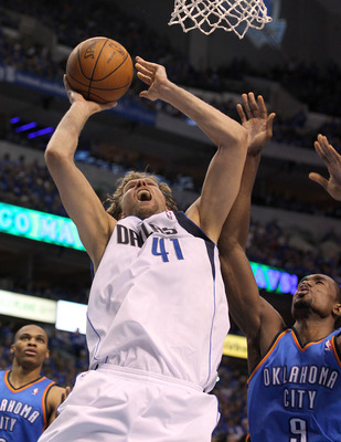 DALLAS, TX - MAY 17:  Dirk Nowitzki #41 of the Dallas Mavericks goes up for a shot against Serge Ibaka #9 of the Oklahoma City Thunder in the second quarter in Game One of the Western Conference Finals during the 2011 NBA Playoffs at American Airlines Cen