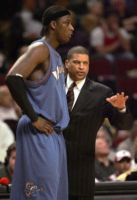 CHICAGO - APRIL 24:  Head coach Eddie Jordan of the Washington Wizards gives instructions to Kwame Brown #5 in Game one of the Eastern Conference Quarterfinals against the Chicago Bulls during the 2005 NBA Playoffs on April 24, 2005 at the United Center i
