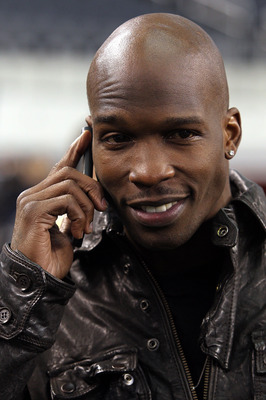 ARLINGTON, TX - FEBRUARY 01:  NFL player Chad Johnson on the field during Super Bowl XLV Media Day ahead of Super Bowl XLV at Cowboys Stadium on February 1, 2011 in Arlington, Texas. The Pittsburgh Steelers will play the Green Bay Packers in Super Bowl XL