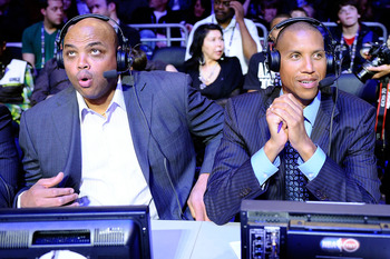 LOS ANGELES, CA - FEBRUARY 19:  Former NBA players Charles Barkley and Reggie Miller, now both analyst for TNT, sit courtside during NBA All-Star Saturday night presented by State Farm at Staples Center on February 19, 2011 in Los Angeles, California.  NO