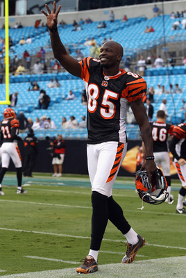 CHARLOTTE, NC - SEPTEMBER 26:  Chad Ochocinco #85 of the Cincinnati Bengals waves to the Carolina Panthers before the start of their game at Bank of America Stadium on September 26, 2010 in Charlotte, North Carolina.  (Photo by Streeter Lecka/Getty Images