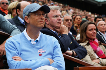 PARIS - JUNE 06:  Bill Gates the chairman of the Microsoft Corporation watches the action during the Women's Singles Final match between Dinara Safina of Russia  and Svetlana Kuznetsova of Russia on day fourteen of the French Open at Roland Garros on June