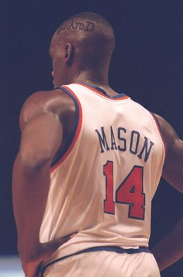 26 Jan 1995:  Forward Anthony Mason of the New York Knicks looks on during a game against the Los Angeles Clippers at Madison Square Garden in New York City, New York.  The Knicks won the game, 87-74. Mandatory Credit: Jed Jacobsohn  /Allsport