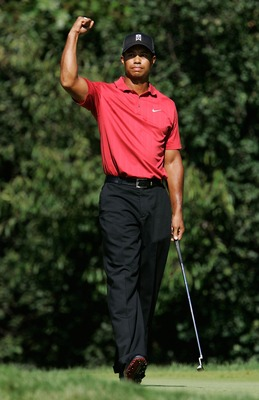 LEMONT, IL - SEPTEMBER 9:  Tiger Woods pumps his fist after making a birdie putt on the 12th hole during the final round of BMW Championship, the third event of the new PGA TOUR Playoffs for the FedExCup at Cog Hill Golf and Country Club September 9, 2007