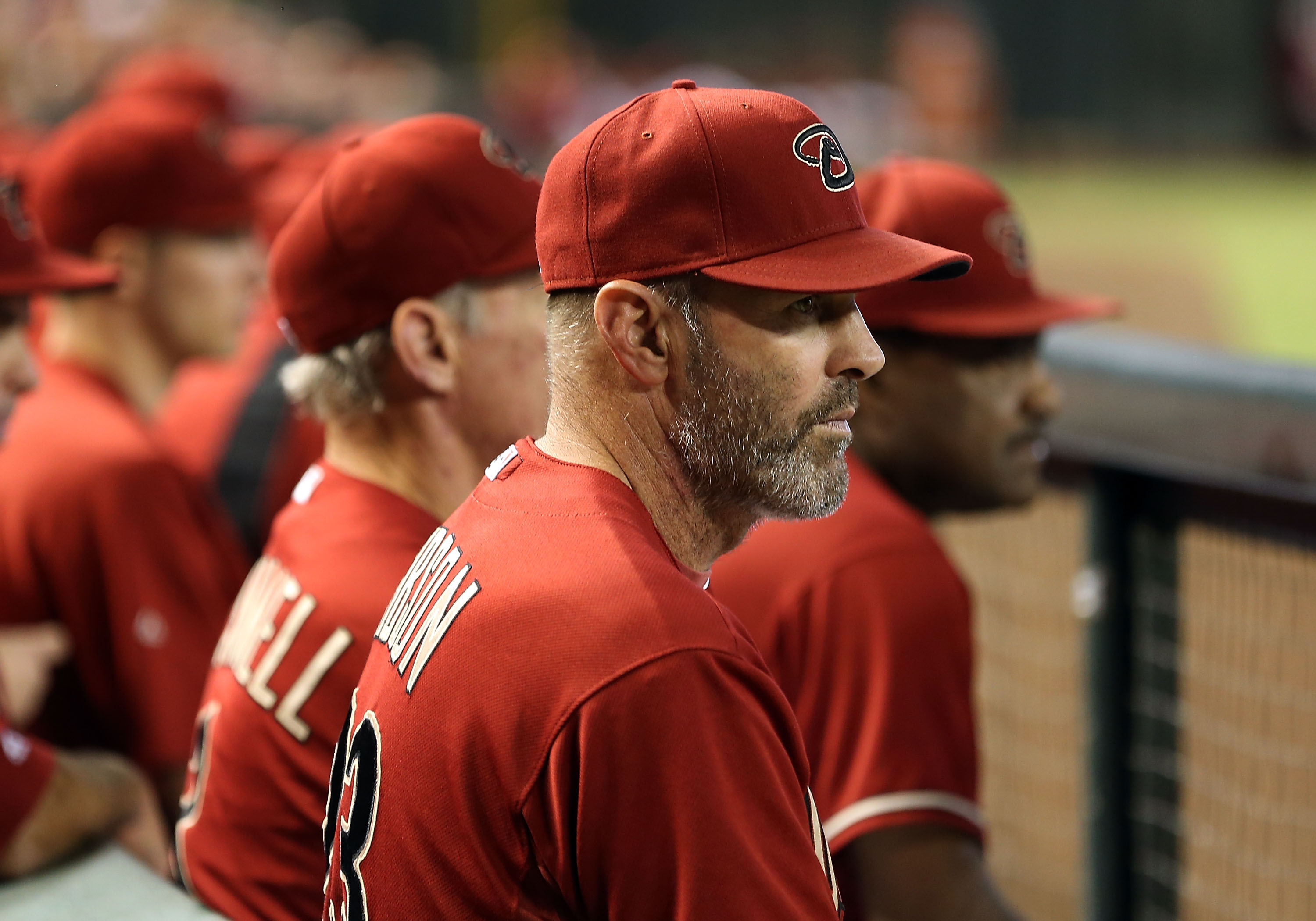 PHOENIX, AZ - OCTOBER 03:  Manager Kirk Gibson of the Arizona Diamondbacks watches from the dugout during the MLB game against the Colorado Rockies at Chase Field on October 3, 2012 in Phoenix, Arizona.  (Photo by Christian Petersen/Getty Images)