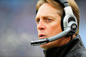 NASHVILLE, TN - DECEMBER 05:  Coach Jack del Rio of the Jacksonville Jaguars watches his team against the Tennessee Titans  during the first half at LP Field on December 5, 2010 in Nashville, Tennessee.  (Photo by Grant Halverson/Getty Images)