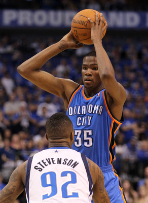 DALLAS, TX - MAY 17:  Kevin Durant #35 of the Oklahoma City Thunder looks to drive on DeShawn Stevenson #92 of the Dallas Mavericks in Game One of the Western Conference Finals during the 2011 NBA Playoffs at American Airlines Center on May 17, 2011 in Da