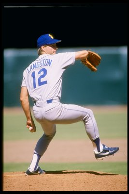 1987:  Pitcher Mark Langston of the Seattle Mariners prepares to throw the ball during a game against the California Angels at Anaheim Stadium in Anaheim, California. Mandatory Credit: Rick Stewart  /Allsport