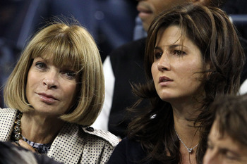 NEW YORK - SEPTEMBER 08:  (L-R) Anna Wintour and Mirka Federer look on as Robin Soderling of Sweden plays against Roger Federer of Switzerland during their men's singles quarterfinal match on day ten of the 2010 U.S. Open at the USTA Billie Jean King Nati