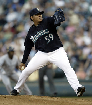 SEATTLE - AUGUST 26:  Starting pitcher Felix Hernandez #59 of the Seattle Mariners pitches against the Chicago White Sox on August 26, 2005 at Safeco Field in Seattle, Washington.  (Photo by Otto Greule Jr/Getty Images)