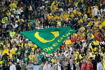 GLENDALE, AZ - JANUARY 10:  An Oregon Ducks flag is displayed at the Tostitos BCS National Championship Game against the Auburn Tigers at University of Phoenix Stadium on January 10, 2011 in Glendale, Arizona.  (Photo by Kevin C. Cox/Getty Images)