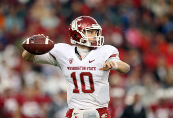 PALO ALTO, CA - OCTOBER 23:  Jeff Tuel #10 of the Washington State Cougars passes the ball against the Stanford Cardinal at Stanford Stadium on October 23, 2010 in Palo Alto, California.  (Photo by Ezra Shaw/Getty Images)