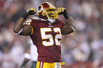 LANDOVER, MD - NOVEMBER 15: Rocky McIntosh #52 of the Washington Redskins celebrates after sacking Michael Vick #7 of the Philadelphia Eagles on November 15, 2010 at FedExField in Landover, Maryland.  (Photo by Chris McGrath/Getty Images)