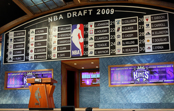 NEW YORK - JUNE 25:  The draft board is seen after the first round of the 2009 NBA Draft at the Wamu Theatre at Madison Square Garden June 25, 2009 in New York City. NOTE TO USER: User expressly acknowledges and agrees that, by downloading and/or using th
