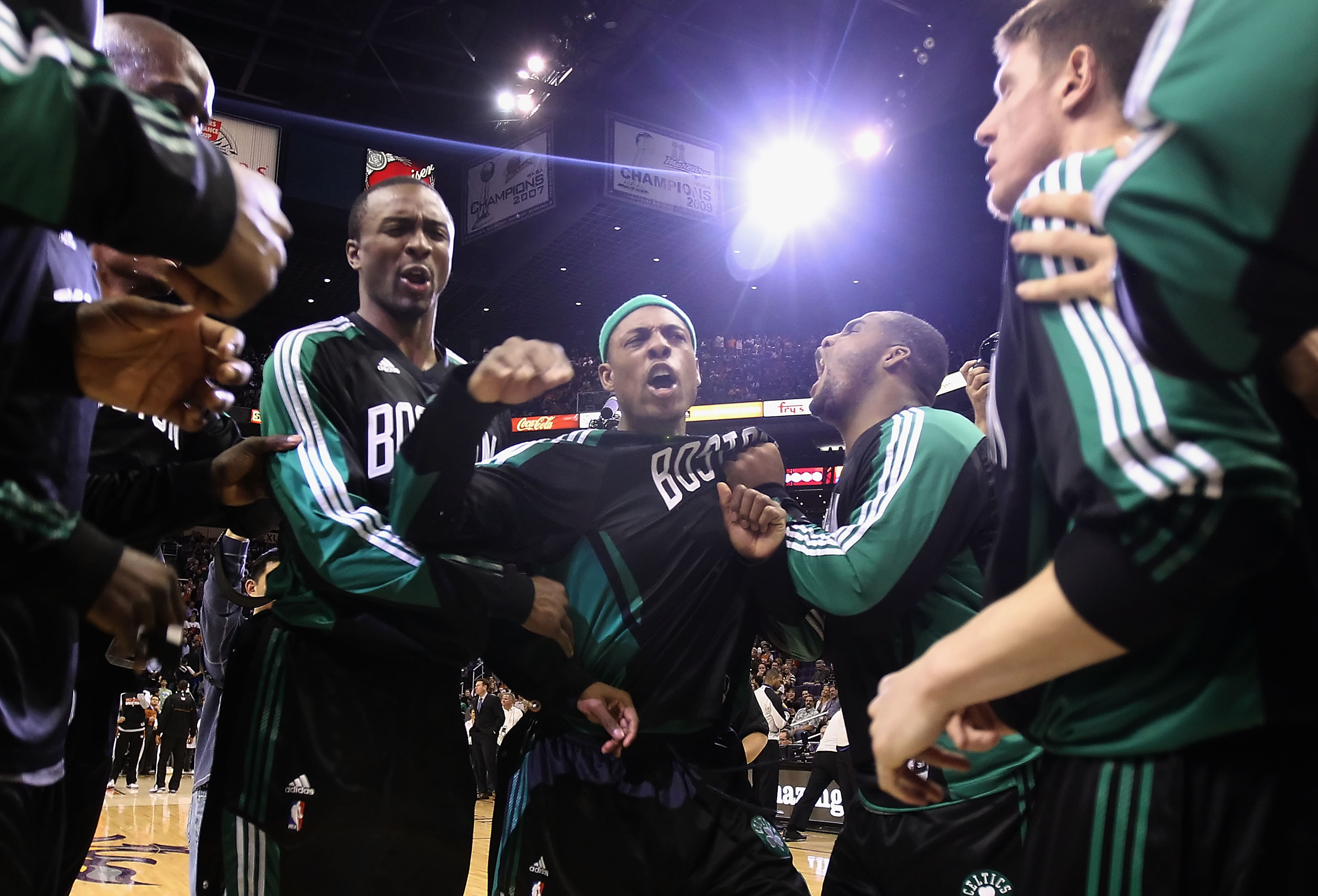 PHOENIX, AZ - JANUARY 28:  Paul Pierce #34 of the Boston Celtics huddles up with teammates before the NBA game against the Phoenix Suns at US Airways Center on January 28, 2011 in Phoenix, Arizona.  The Suns defeated the Celtics 88-71.  NOTE TO USER: User