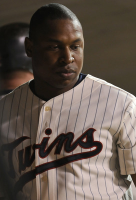 MINNEAPOLIS, MN - OCTOBER 7: Delmon Young #21 of the Minnesota Twins in the dugout following a 2-5 loss to the New York Yankees in game two of the ALDS game on October 7, 2010 at Target Field in Minneapolis, Minnesota. (Photo by Hannah Foslien /Getty Imag