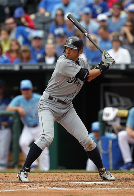 KANSAS CITY, MO - APRIL 17:  Ichiro Suzuki #51 of the Seattle Mariners bats during the game against the Kansas City Royals on April 17, 2011 at Kauffman Stadium in Kansas City, Missouri.  (Photo by Jamie Squire/Getty Images)