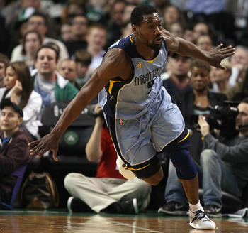 BOSTON, MA - MARCH 23: Tony Allen #9 of the Memphis Grizzlies celebrates after he made a three point shot in the second half against the Boston Celtics  on March 23, 2011 at the TD Garden in Boston, Massachusetts.  The Memphis Grizzlies defeated the Bosto
