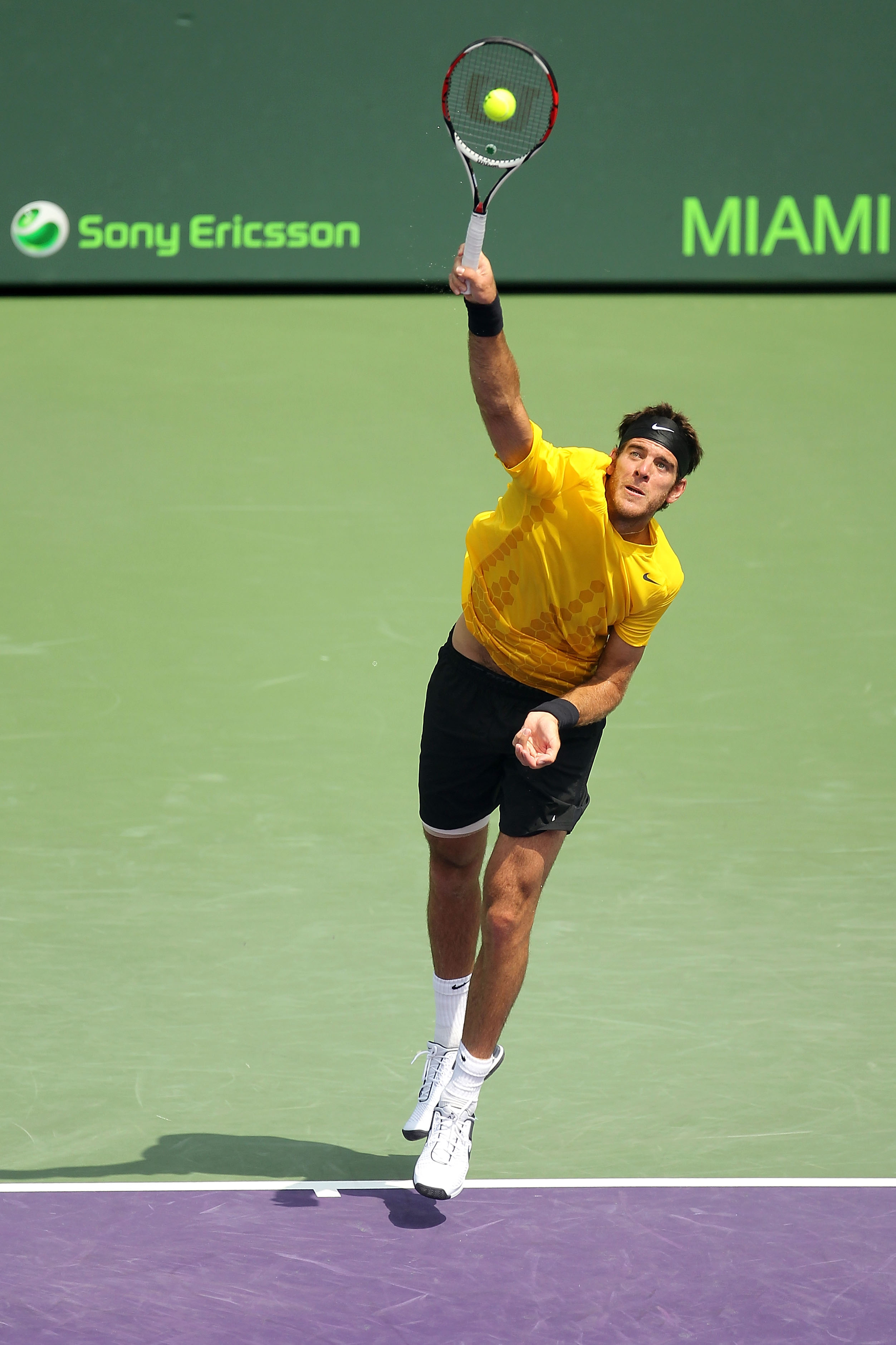 KEY BISCAYNE, FL - MARCH 29:  Juan Martin Del Potro of Argentina serves against Mardy Fish during the Sony Ericsson Open at Crandon Park Tennis Center on March 29, 2011 in Key Biscayne, Florida.  (Photo by Mike Ehrmann/Getty Images)