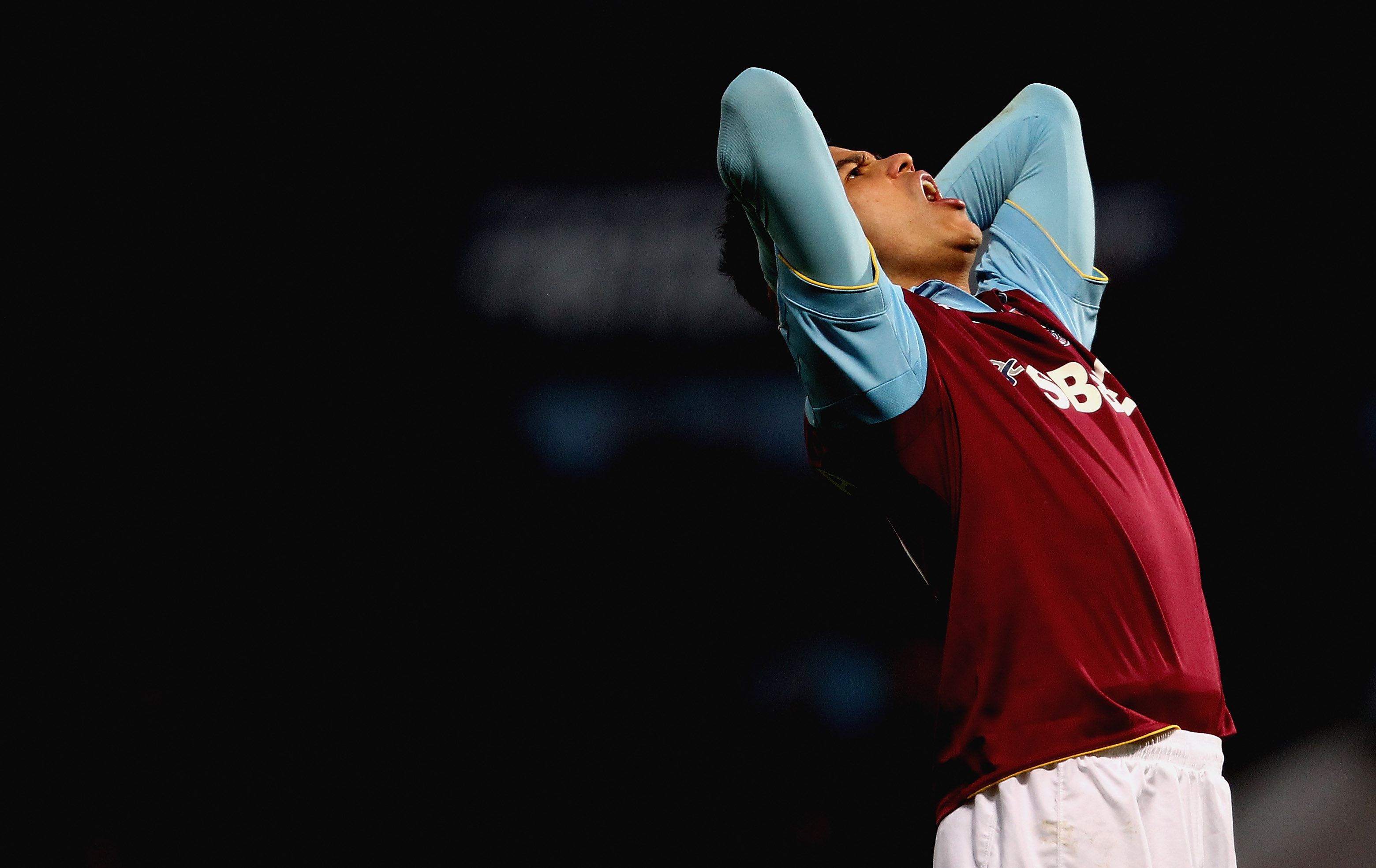 LONDON, ENGLAND - NOVEMBER 27: Pablo Barrera of West Ham reacts after a missed chance during the Barclays Premier League match between West Ham United and Wigan Athletic at Boleyn Ground on November 27, 2010 in London, England.  (Photo by Scott Heavey/Get