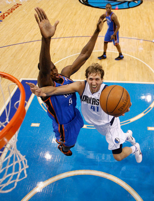 DALLAS, TX - MAY 19:  Dirk Nowitzki #41 of the Dallas Mavericks goes up for a shot against Serge Ibaka #9 of the Oklahoma City Thunder in the second half in Game Two of the Western Conference Finals during the 2011 NBA Playoffs at American Airlines Center