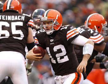 CLEVELAND - DECEMBER 26:  Quarterback Colt McCoy #12 of the Cleveland Browns runs the ball against the Baltimore Ravens at Cleveland Browns Stadium on December 26, 2010 in Cleveland, Ohio.  (Photo by Matt Sullivan/Getty Images)