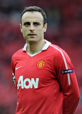 MANCHESTER, ENGLAND - MAY 04:  Dimitar Berbatov of Manchester United lines up prior to the UEFA Champions League Semi Final second leg match between Manchester United and Schalke at Old Trafford on May 4, 2011 in Manchester, England.  (Photo by Michael Re