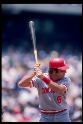Jun 1983:  Jonny Bench of the Cincinnati Reds in action during a game. Mandatory Credit: Allsport  /Allsport