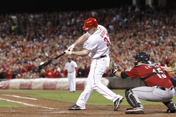 CINCINNATI, OH - SEPTEMBER 28: Jay Bruce #32 of the Cincinnati Reds bats against the Houston Astros at Great American Ball Park on September 28, 2010 in Cincinnati, Ohio. The Reds won 3-2 to clinch the NL Central Division title. (Photo by Joe Robbins/Gett