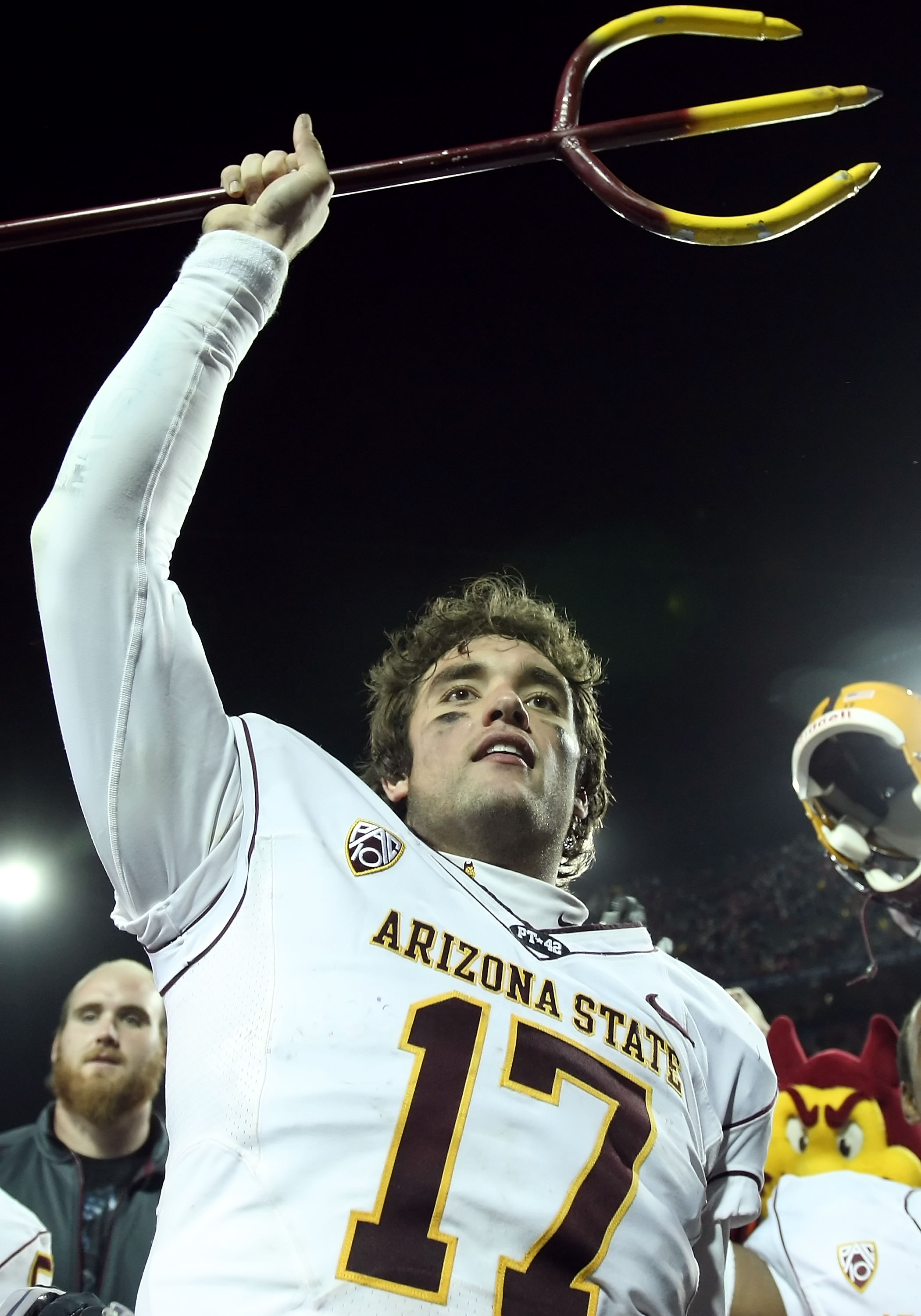 TUCSON, AZ - DECEMBER 02:  Quarterback Brock Osweiler #17 of the Arizona State Sun Devils celebrates after defeating the Arizona Wildcats in college football game at Arizona Stadium on December 2, 2010 in Tucson, Arizona. The Sun Devils defeated the Wildc