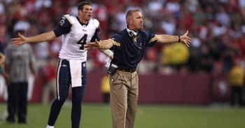 SAN FRANCISCO - NOVEMBER 14:  Head coach Steve Spagnuolo of the St. Louis Rams argues a pass interference call in overtime against the San Francisco 49ers during an NFL game at Candlestick Park on November 14, 2010 in San Francisco, California.  (Photo by
