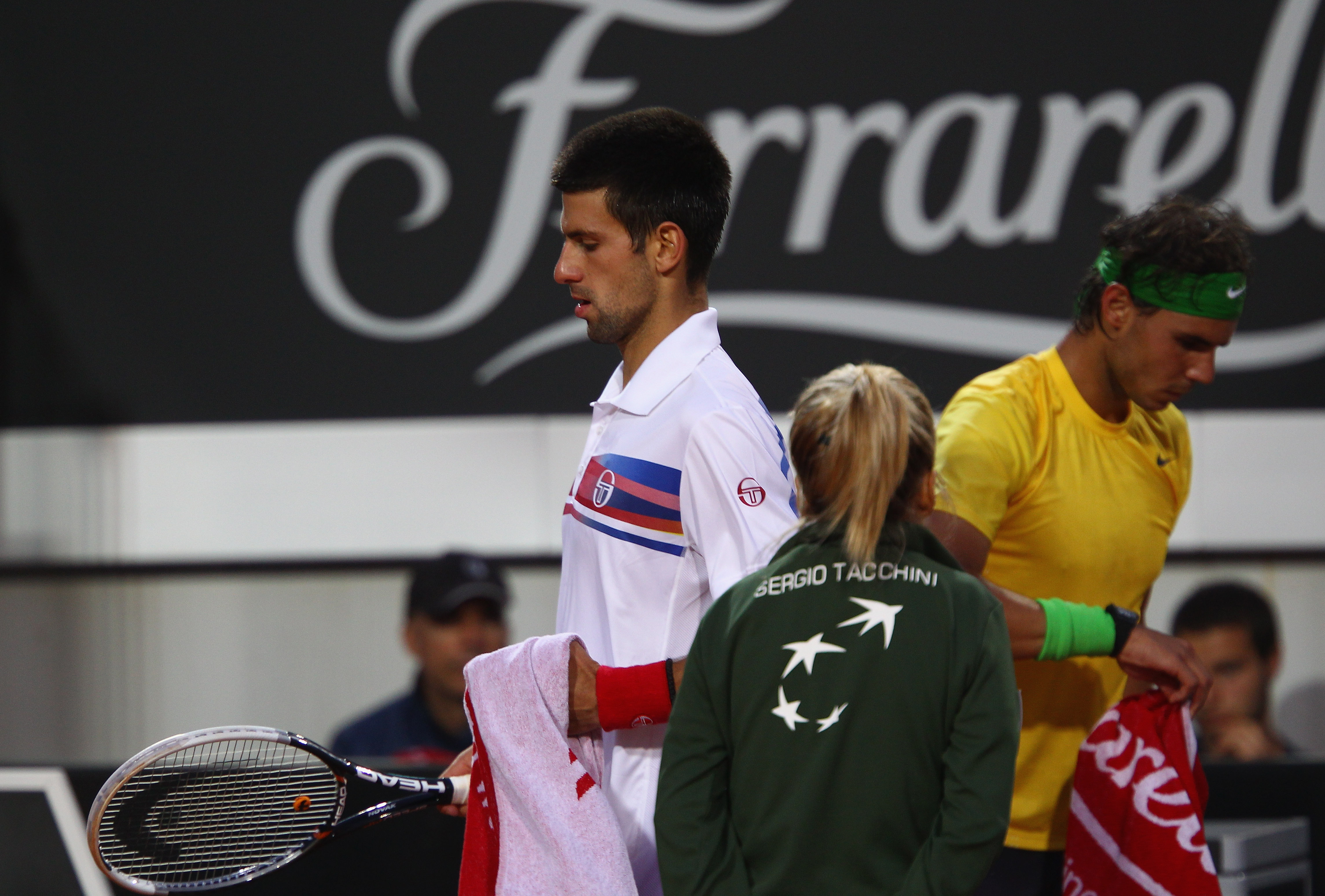ROME, ITALY - MAY 15:  Novak Djokovic of Serbia walks from the change over during the final against Rafael Nadal of Spain during day eight of the Internazoinali BNL D'Italia at the Foro Italico Tennis Centre on May 15, 2011 in Rome, Italy.  (Photo by Cliv