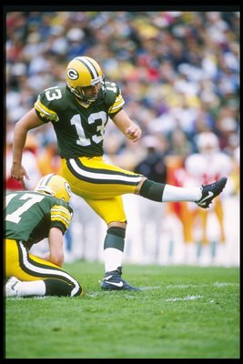 27 Oct 1996:  Kicker Chris Jacke of the Green Bay Packers kicks the ball during a game against the Tampa Bay Buccaneers at Lambeau Field in Green Bay, Wisconsin.  The Packers won the game, 13-7. Mandatory Credit: Jonathan Daniel  /Allsport