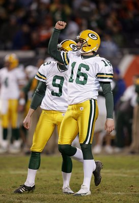 CHICAGO - DECEMBER 31:  Kicker Dave Rayner #16 of the Green Bay Packers celebrates a successful kick attempt against the Chicago Bears December 31, 2006 at Soldier Field in Chicago, Illinois. The Packers won 26-7. (Photo by Jonathan Daniel/Getty Images)