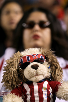 CARSON, CA - MAY 21:  A Chivas USA fan sits behind her stuffed mascot during the game with the Los Angeles Galaxy at The Home Depot Center on May 21, 2011 in Carson, California.  The Galaxy won 1-0.  (Photo by Stephen Dunn/Getty Images)