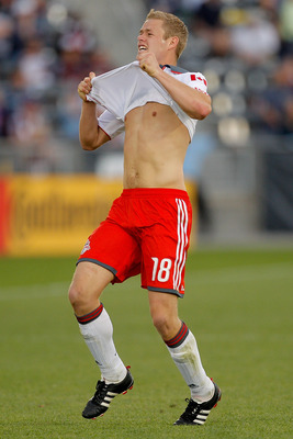 DENVER, CO - MAY 22: Nick Soolsma #18 of Toronto FC reacts after being unable to chase down a pass against the Colorado Rapids during the second half at Dick's Sporting Goods Park on May 22, 2011 in Commerce City, Colorado. (Photo by Justin Edmonds/Getty