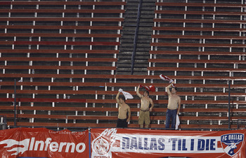 FRISCO, TX - MAY 22: FC Dallas fans wave their shirts in the air during a 1 hour and 40 minute lighting delay in the second half of a soccer game against Real Salt Lake at Pizza Hut Park on May 22, 2011 in Frisco, Texas. (Photo by Brandon Wade/Getty Image