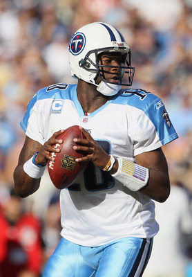 SAN DIEGO - OCTOBER 31:  Quarterback Vince Young #10 of the Tennessee Titans drops back to pass against the San Diego Chargers in the fourth quarter at Qualcomm Stadium on October 31, 2010 in San Diego, California. The Chargers defeated the Titans 33-25.