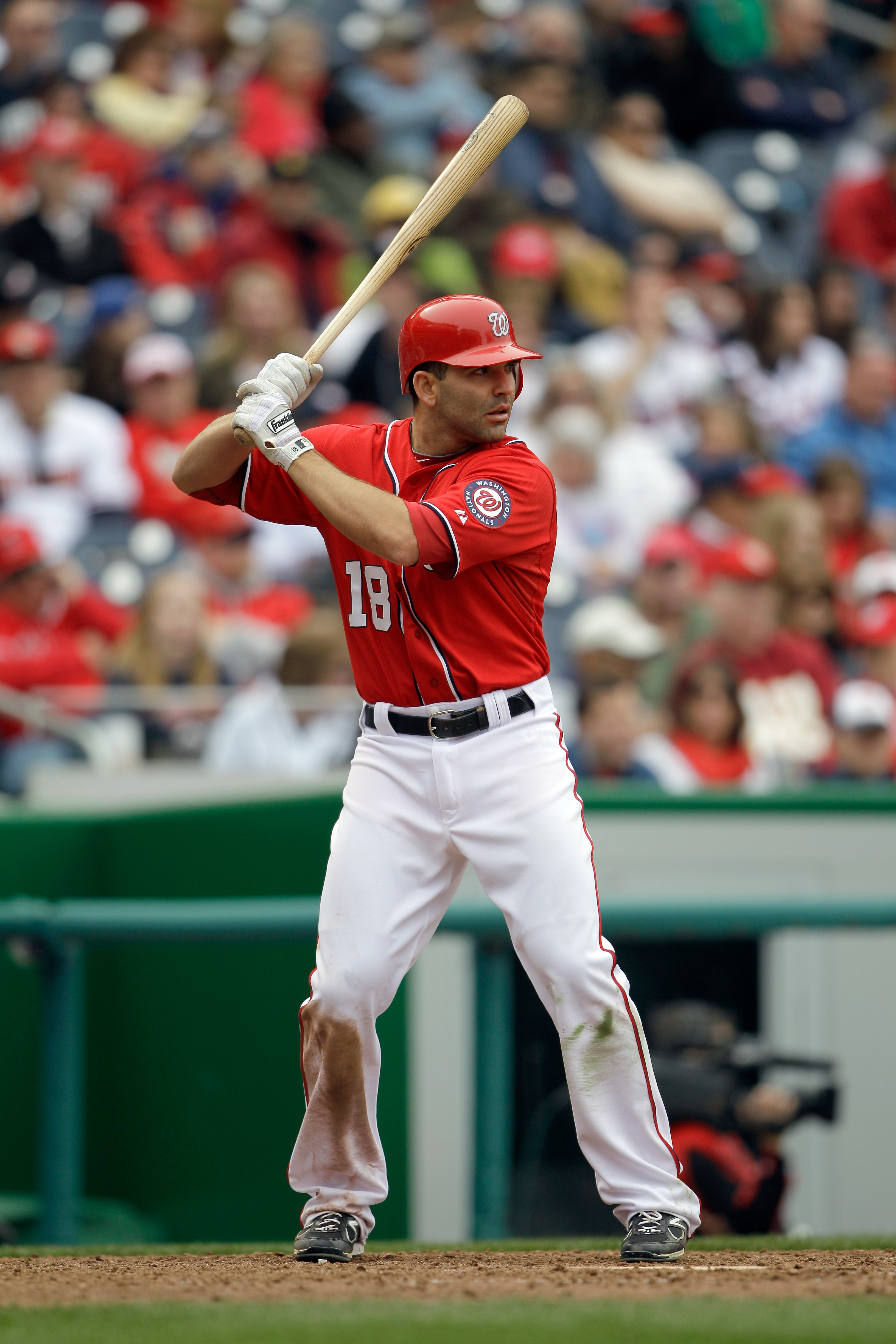 WASHINGTON, DC - APRIL 03: Danny Espinosa #18 of the Washington Nationals at the plate against the Atlanta Braves at Nationals Park on April 3, 2011 in Washington, DC.  (Photo by Rob Carr/Getty Images)