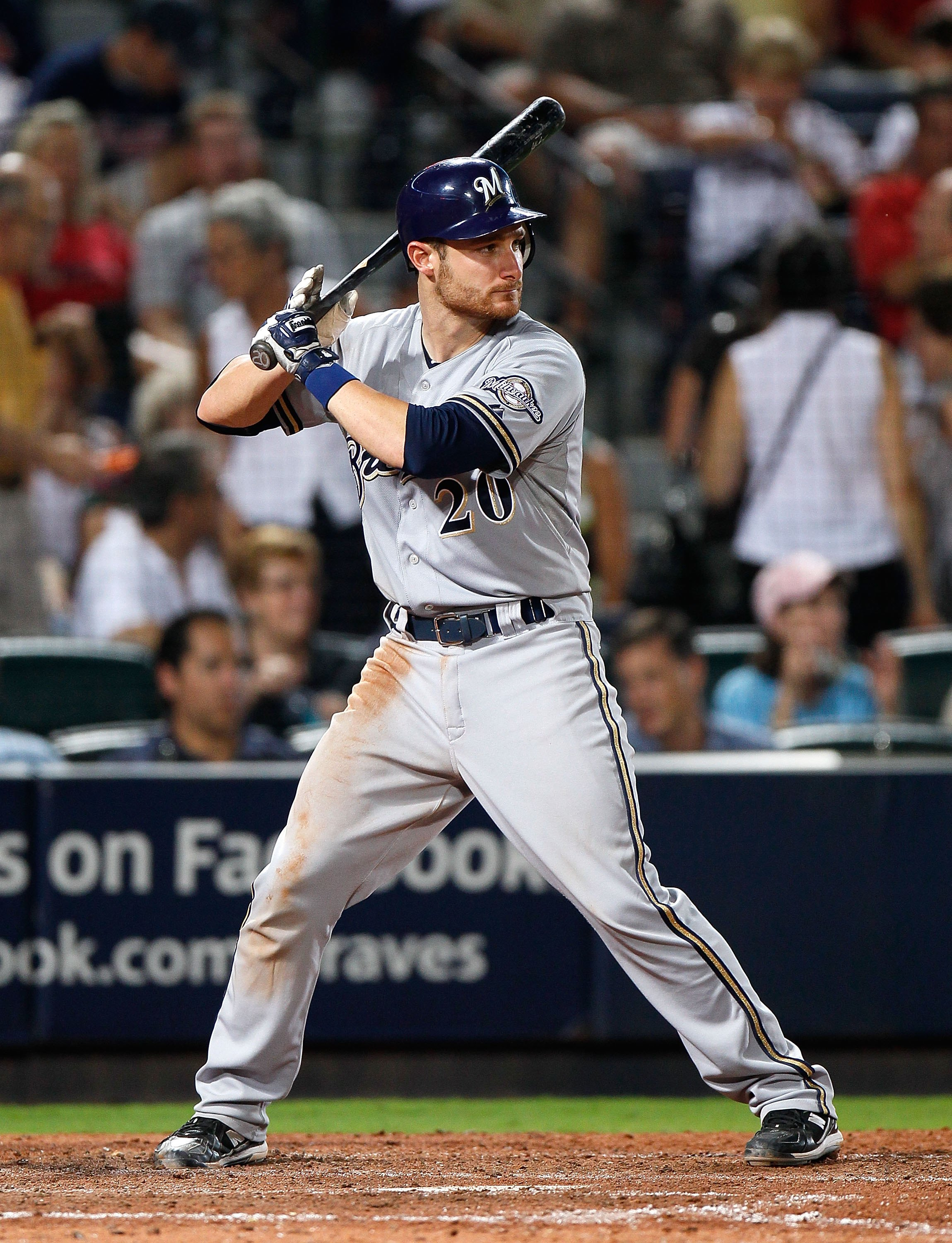 ATLANTA - JULY 15:  Jonathan Lucroy #20 of the Milwaukee Brewers against the Atlanta Braves at Turner Field on July 15, 2010 in Atlanta, Georgia.  (Photo by Kevin C. Cox/Getty Images)