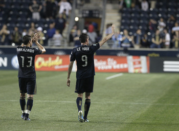 CHESTER, PA - May 21: Sebastien Le Toux #9 and Kyle Nakazawa #13 of the Philadelphia Union thank the fans after their game against the Chicago Fire in an MLS soccer game May 21, 2011 at PPL Stadium in Chester, Pennsylvania. The Union won 2-1.( Photo by Ch