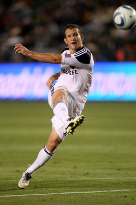 CARSON, CA - MAY 14:   Chad Barrett #11 of the Los Angeles Galaxy gets off a shot against Sporting Kansas City at The Home Depot Center on May 14, 2011 in Carson, California.  The Galaxy won 4-1.  (Photo by Stephen Dunn/Getty Images)