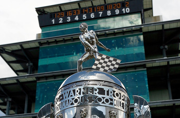 INDIANAPOLIS - JULY 25:  The Borg-Warner Trophy is displayed in front of the Pagoda after the NASCAR Sprint Cup Series Brickyard 400 at Indianapolis Motor Speedway on July 25, 2010 in Indianapolis, Indiana.  (Photo by Jason Smith/Getty Images)