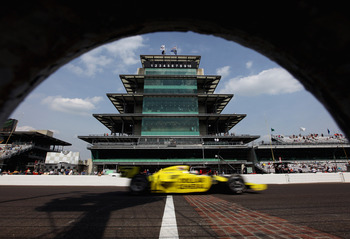INDIANAPOLIS, IN - MAY 20:  Ed Carpenter, driver of the #67 Dollar General/Srah Fisher Racing Dallara Honda, passes the pagoda on the front stretch during practice for the Indianapolis 500 on May 20, 2011 at Indianapolis Motor Speedway in Indianapolis, In