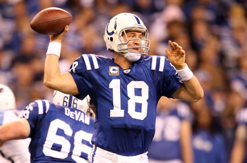 c4f0baa24b7 INDIANAPOLIS - JANUARY 02  Peyton Manning  18 of the Indianapolis Colts  throws a pass