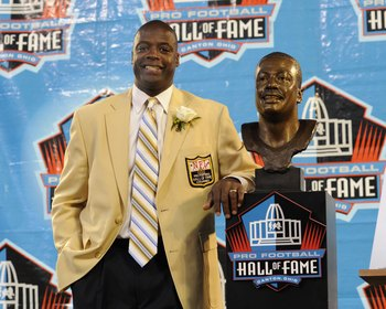 CANTON, OH - AUGUST 2: Darrell Green of the Washington Redskins poses with his bust after his induction during the Class of 2008 Pro Football Hall of Fame Enshrinement Ceremony at Fawcett Stadium on August 2, 2008 in Canton, Ohio.   (Photo by Al Messersch
