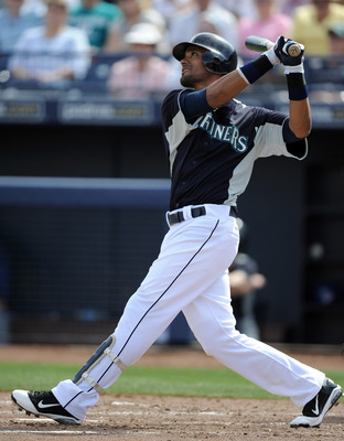 PEORIA, AZ - MARCH 01:  Franklin Gutierrez #21 of the Seattle Mariners at bat against the Texas Rangers during spring training at Peoria Stadium on March 1, 2011 in Peoria, Arizona.  (Photo by Harry How/Getty Images)