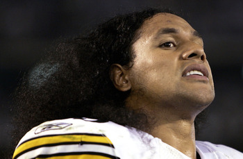 SAN DIEGO, CA -  OCTOBER 10:  Strong Safety Troy Polamalu #43 of the Pittsburgh Steelers looks on after his team's  24-22 win over the San Diego Chargers in their NFL Game on October 10, 2005 at Qualcomm Stadium in San Diego, California.(Photo by Donald M