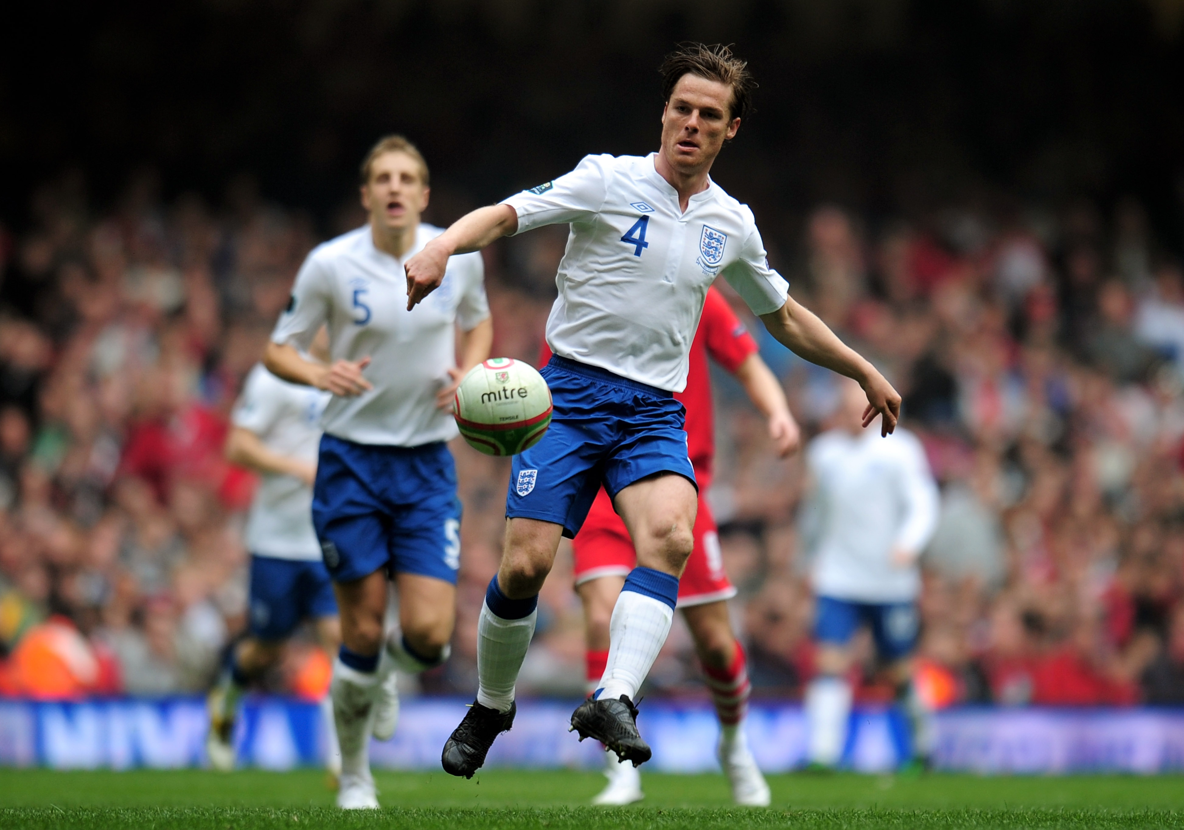 CARDIFF, WALES - MARCH 26:  Scott Parker of England controls the ball during the UEFA EURO 2012 Group G qualifying match between Wales and England at the Millennium Stadium on March 26, 2011 in Cardiff, Wales.  (Photo by Shaun Botterill/Getty Images)