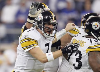 INDIANAPOLIS - JANUARY 15:  Ben Roethlisberger #7 of the Pittsburgh Steelers celebrates his first quarter touchdown pass to Antwaan Randle El against the Indianapolis Colts during the AFC Divisional Playoffs January 15, 2006 at the RCA Dome in Indianapoli